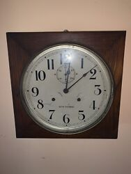 LARGE ANTIQUE SETH THOMAS 30-DAY WALL CLOCK WOODEN CABINET DOUBLE KEY-WIND W KEY