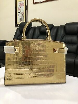 Michael Kors Karla East West Medium Satchel Bag Embossed Leather Gold (East West Embossed Satchel)