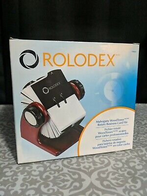 New Rolodex Rotary Business Card File 2 58 X 4 Cards 200 Sleeves Mahogany Tone