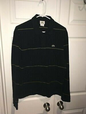 Lacoste Black Yellow Striped Long Sleeve Polo Shirt Mens Size 5 Medium