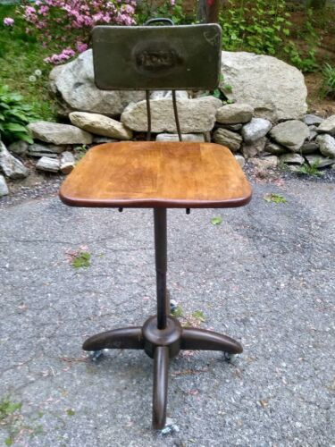 VTG Antique Everlock Adjustable Drafting Stool Industrial Machine Age Wheels