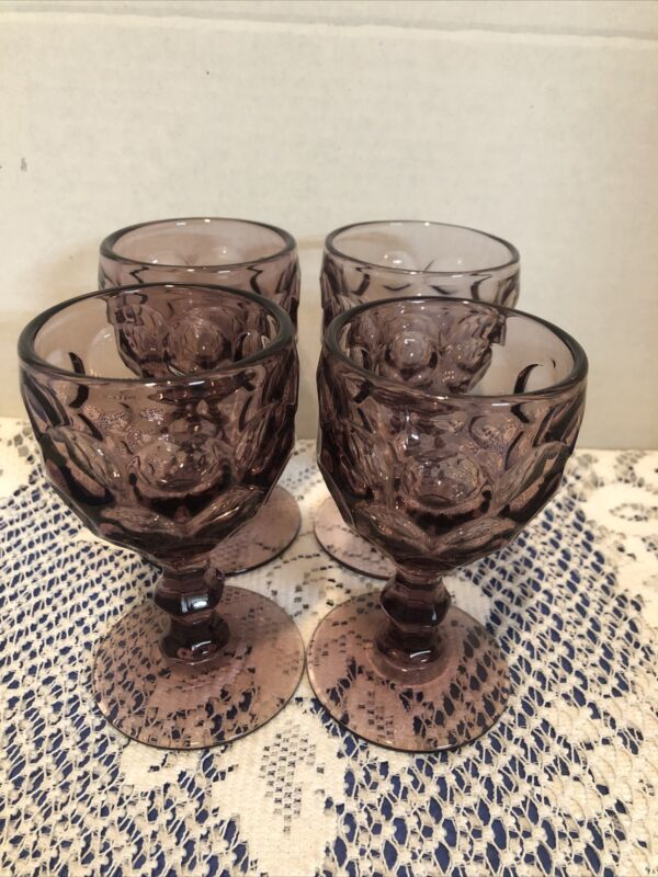"""Imperial Glass Ohio Provincial Amethyst Purple Thumbprint Wine Sherry Small 4.5"""""""