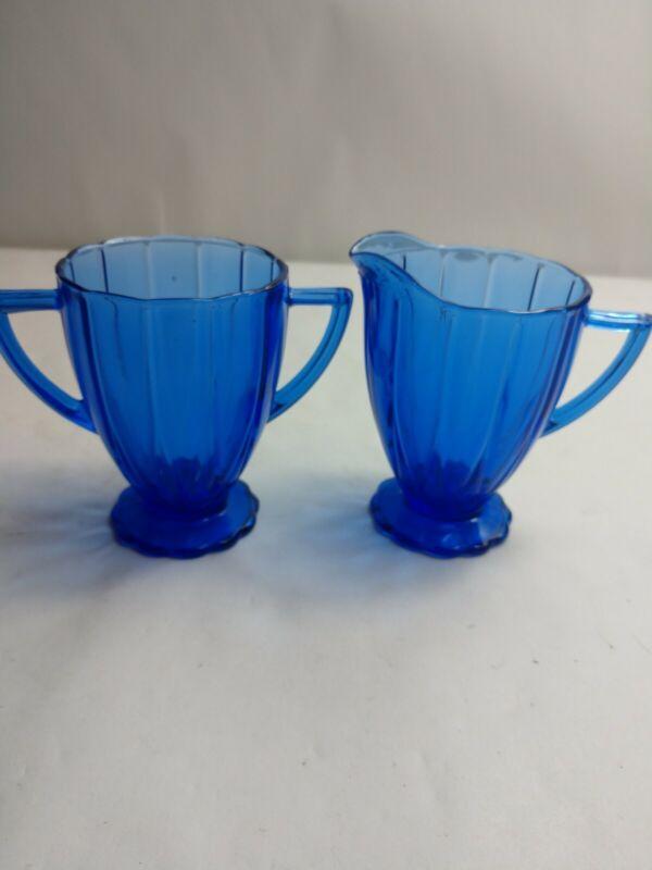 "Vintage Cobalt Blue Depression Glass Sugar And Cramer Dishes 4"" tall"