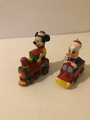 Mickey Mouse Donald Duck set of 2 vintage Christmas ornaments Train Fire Truck