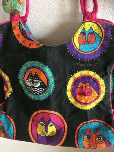 Laurel Burch Tote Bag Colorful Cats