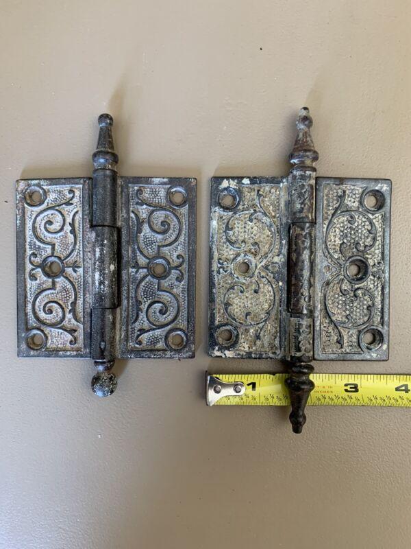 Vintage Victorian Door Hinges 3 1/2x 3 1/2