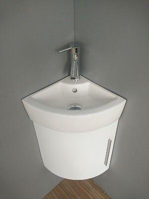 Corner Wall Mount Bathroom Vanity White Sink with white or gray Vanity cabinet Corner Sink Cabinet