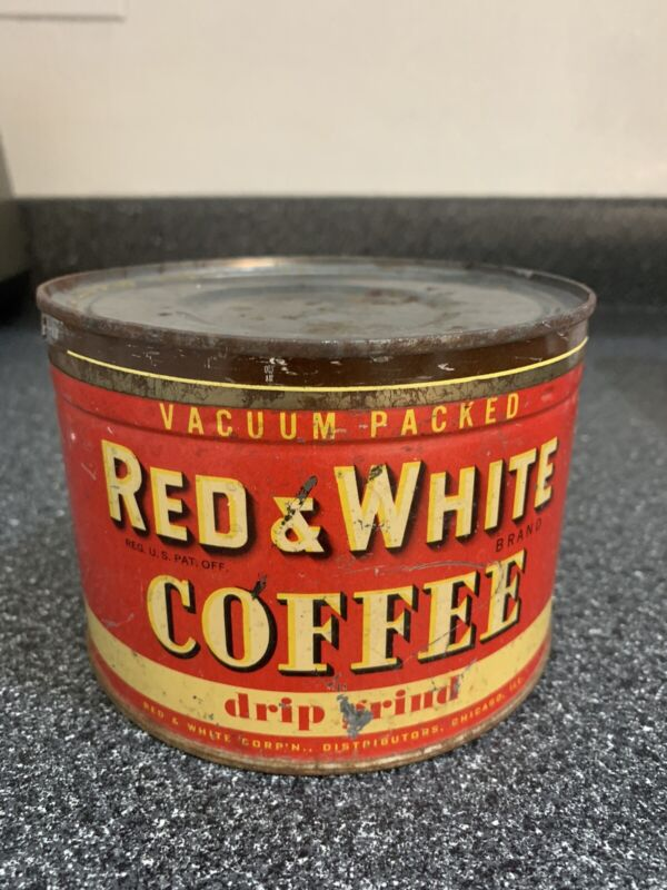 Old Red & White Coffee Can