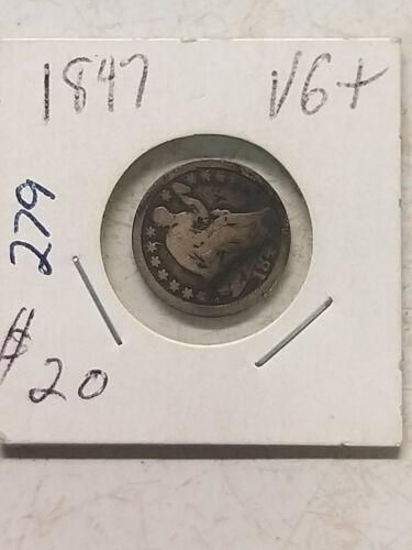 Coin - US - Half Dimes - Seated - 1847 - VG -  Half Dime - 90% Silver