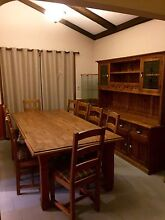 Rustic timber dining table & 9 chairs and wall unit Bossley Park Fairfield Area Preview