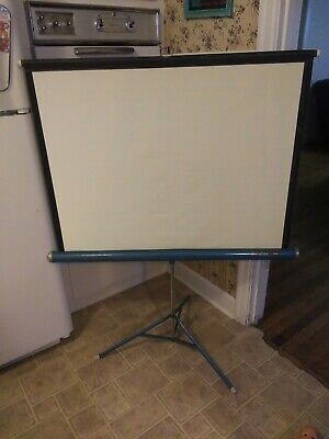 Vintage Da-lite Silver Fly Projection Screen 40 X 40 For Movies Slides