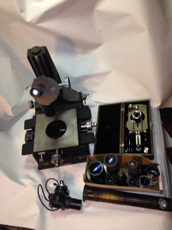 Antique Bausch Lomb microscope Leitz Wetzlar Extra lens Parts collectible tool