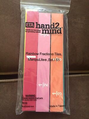 ETA hand2mind Rainbow Fraction Tiles Set Of 51 NEW Math Manipulative