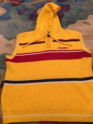 Vintage 90's FUBU Hooded Sweater Vest Bright Yellow w/ Red Stripes  XL