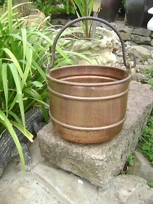 Large vintage French copper cauldron/hanging pot/planter/jardiniere Villedieu