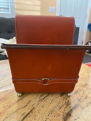 Office Supplies Desk Organizer - Brown Leather Magazines Holder