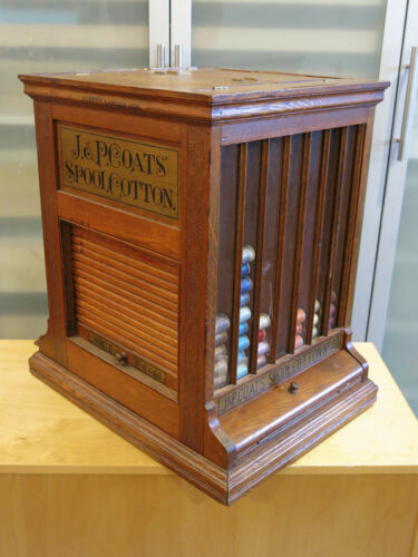 Antique 1800s Solid Oak J.P. COATS Revolving Counter Display for Spools