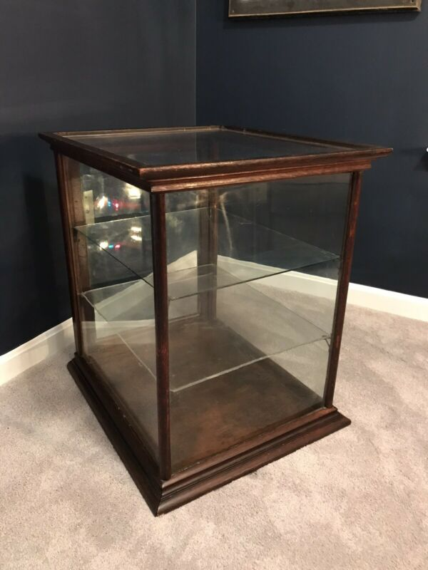Large Antique Glass Display Case General Store Cabinet Case