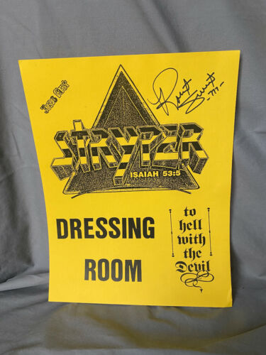 Stryper ROBERT SWEET autograph To Hell w/the Devil Dressing Room Signed REAL
