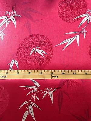 """Faux Silk Polyester Asian Bamboo Satin Jacquard 56"""" Wide Sell by the yard ,Red"""