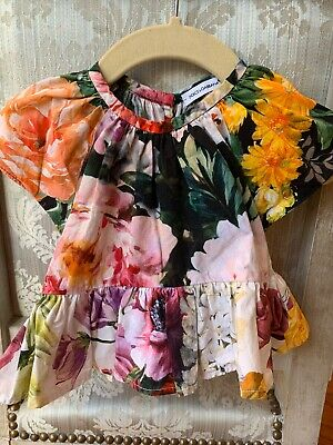 Dolce Gabbana Kids Baby Girls Floral Blouse Size 2