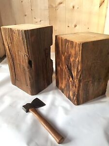 End table - rustic hand hewn timber
