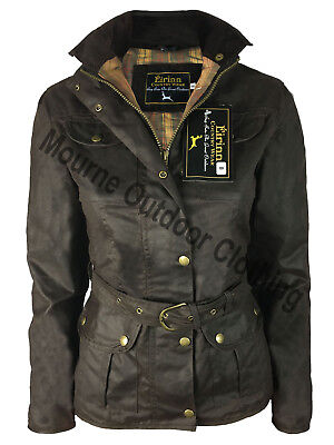 Womens Ladies Country Belted Wax Jacket 4 Pocket Waxed Cotton Waterproof (Belted Pocket)