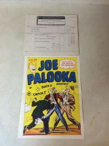 JOE PALOOKA #30 COVER ART original cover proof 1948 w/PRINTER INVOICE -- RARE!!