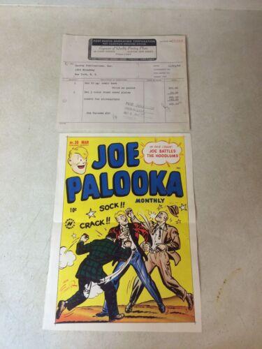 JOE PALOOKA #30 COVER ART original cover proof 1948 w/PRINTER INVOICE -- RARE!!