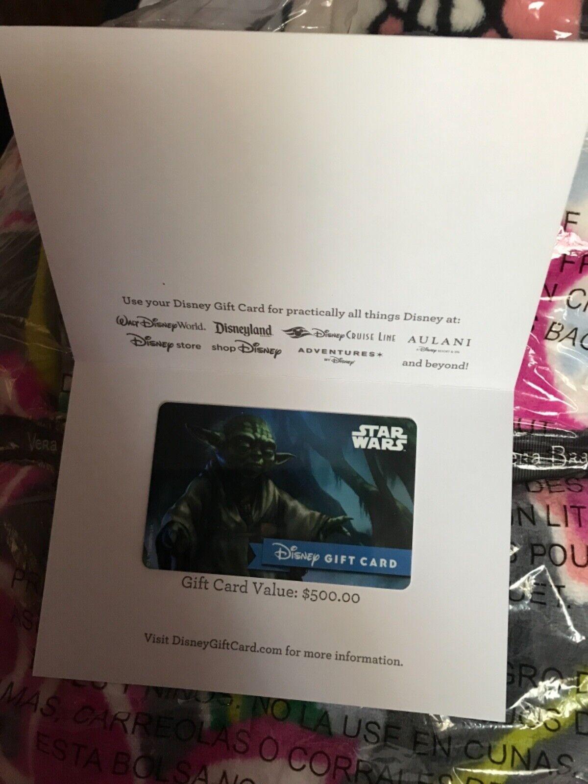 Disney Gift Card 500 Star Wars Yoda - $470.00