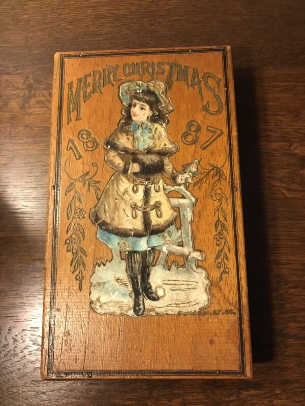 Vintage Antique  Christmas Happy New Year Box 1887