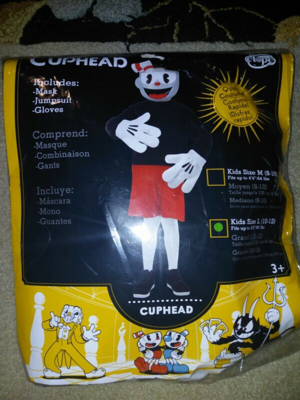 Cuphead Halloween Costume, Kids size L (10-12) - mask, jumpsuit, gloves - NEW