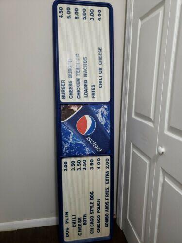 "Vintage Pepsi Menu Board Soda Pop Restaurant Bar Sign Display 17"" X 70"""