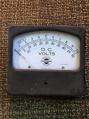 1951 Vintage Weidenhoff Panel Dc Voltmeter Steampunk Gauge