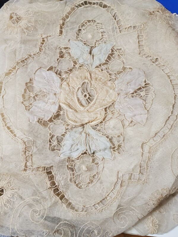 Antique Handmade Lace Bed Cover - Double Size - French Normandy Style - Floral