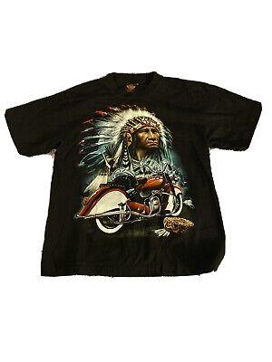 Rock Eagle International Vintage 90s Indian Motorcycle T Shirt Sz L 42-44
