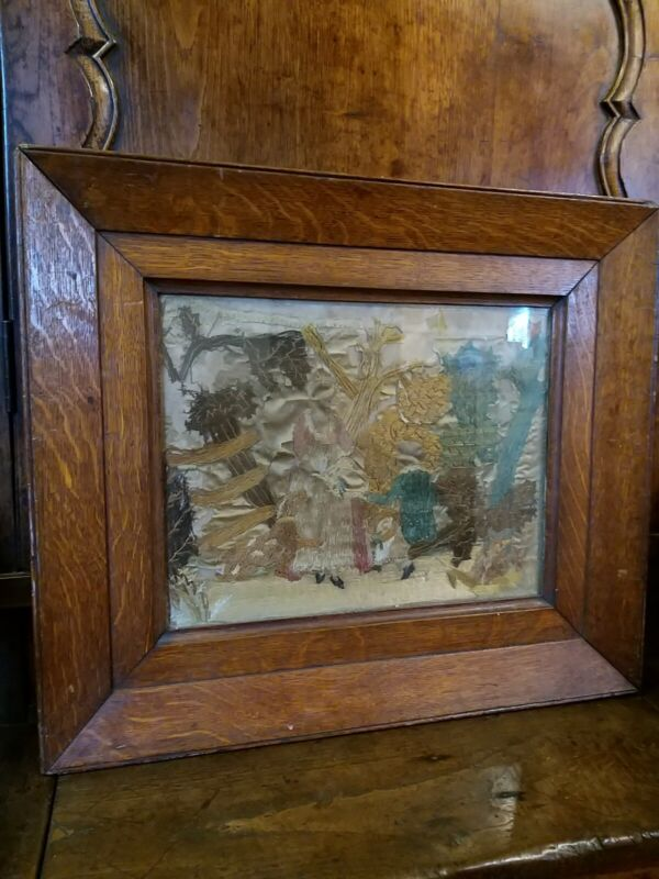 A Early Stumpwork On Silk Picture In Quality Oak Frame