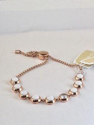 Michael Kors Easy Opulence Crystal & Stone Slider Rose Gold Bracelet NWT