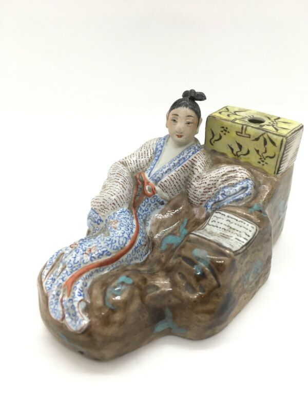 Antique Chinese Ceramic Brush Or Quill Holder Of A Lady Reclining Reading