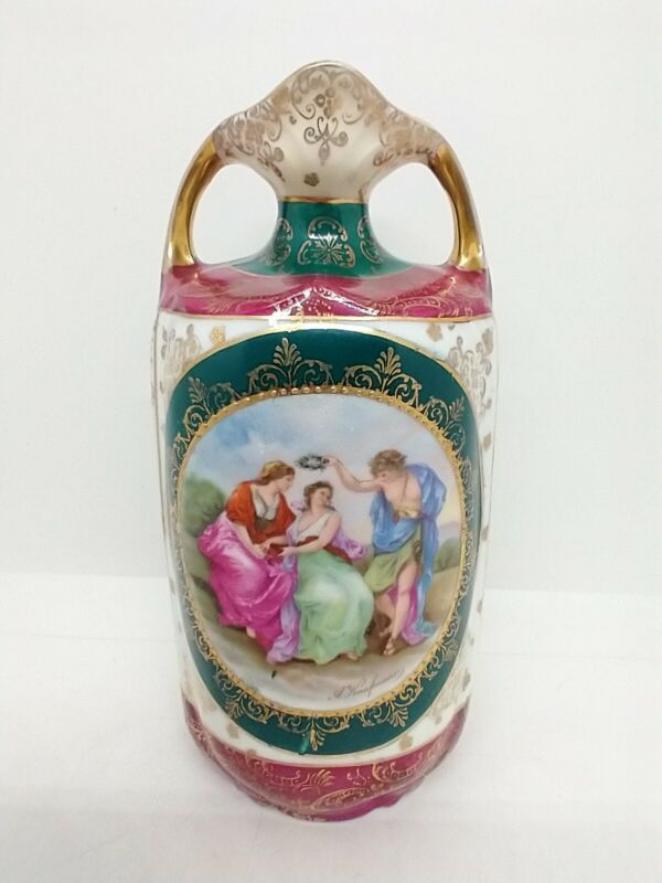 """Prov Saxe ES Germany Prussia Figural Vase Classical Scene 7"""" mark 14 Hand Signed"""