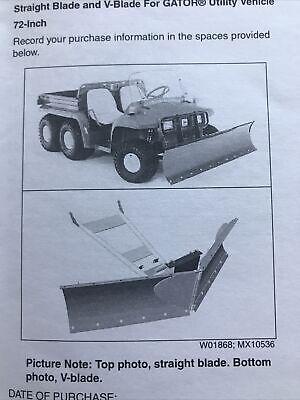 Genuine John Deere Gator 72 Snow Plow V Blade Operator Manual
