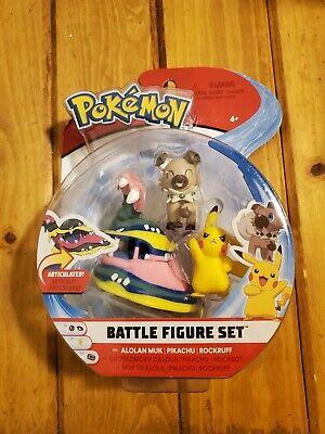 Pokemon Battle Figure Set Alolan Muk Pikachu Rockruff Figures WCT New