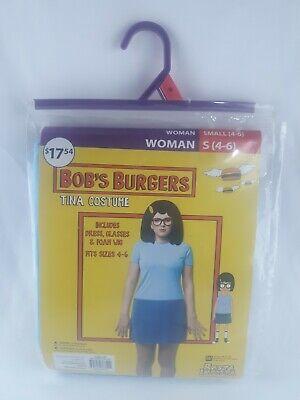 Bob's Burger Halloween Costume (NEW Bob's Burgers Tina Costume Halloween Fancy Dress Glasses Wig Women's S)