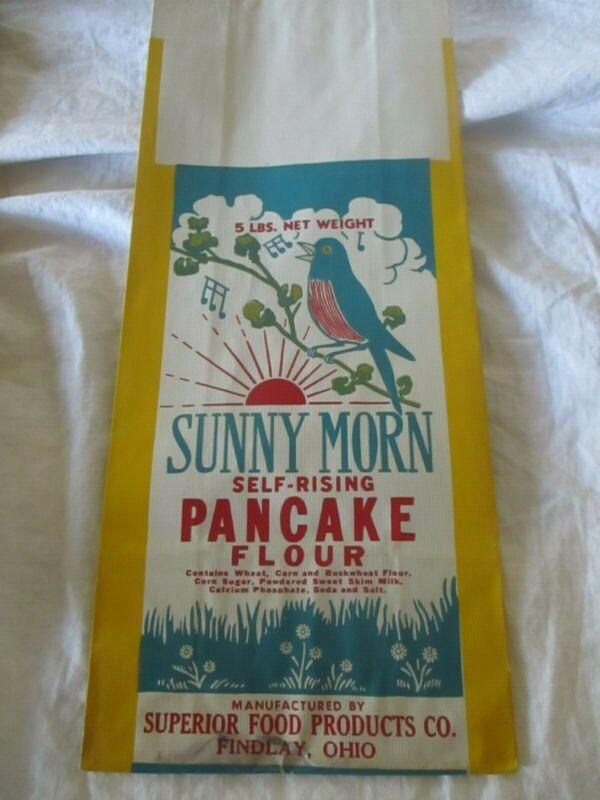 Vintage Sunny Morn Paper Flour Bag Self Rising Pancake Flour 5 Lbs