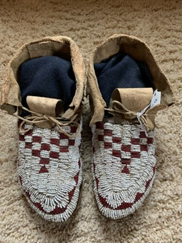 Antique Old Native American Northern Plains Moccasins Circa 1920's