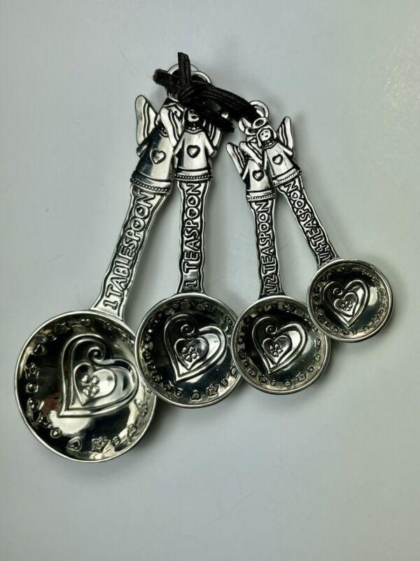 Sterling Silver Angel & Heart Measuring Spoons. Vintage.