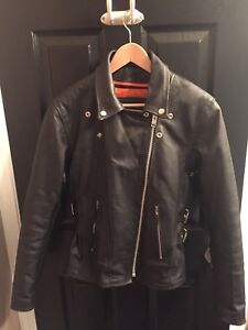 Women's Black Leather Motorcycle Jacket (fits S or M)
