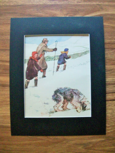 Print Sheepdog Children Vernon Stokes Dig In Snow Bookplate 1947 11x14 Matted