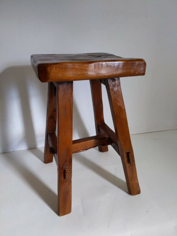 Antique Primitive Arts & Crafts Style Solid Wood Low Stool - Milking