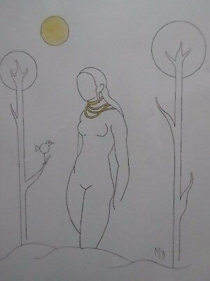 WATERCOLOUR AND INK NUDE STUDY OF A LADY MONOGRAMMED M 1973 FREE SHIPPING